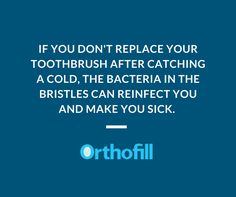If you don't replace your toothbrush after catching a cold, the bacteria in the bristles can reinfect you and make you sick. Visit https://www.orthofill.com/ for more info.