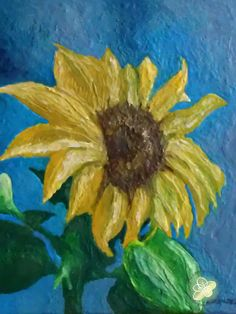 Sunflower Encaustic Painting 8x10 by ajsarts on Etsy, $100.00