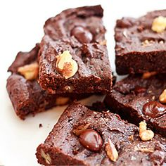 Low Carb Chocolate Chip Walnut Brownies made with Soy Flour