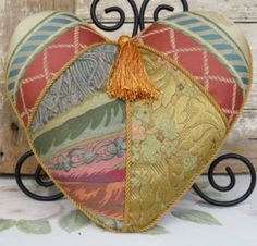 Vintage Heart Shaped Victorian Silk Boudoir Accent Pillow Patchwork Gold Tassle