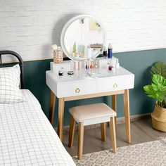 May 2020 - Set 3 Makeup Vanity Table Color Lighting Jewelry Divider Dressing Table-White Vanity Table Set, Makeup Table Vanity, Wood Vanity, Vanity Set, Corner Makeup Vanity, Makeup Tables, Dressing Table With Chair, My New Room, Bedroom Decor