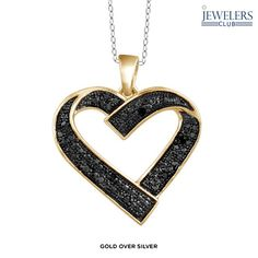 Genuine Black Diamond Accent Mystical Heart Pedant in Sterling Silver - Assorted Finishes