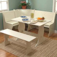 White Kitchen Dining Room Wood Corner Breakfast Nook Table & Bench Chair 3PC Set