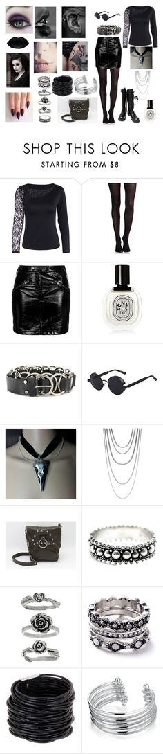 """""""Leather and lace"""" by banasheeanni ❤ liked on Polyvore featuring SPANX, Topshop, Diptyque, McQ by Alexander McQueen, John Hardy, WithChic, Saachi and Bling Jewelry"""