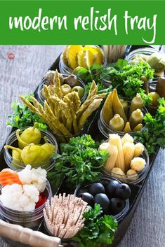 The Best Relish Tray – A Modern Pickle and Olive Tray A modern take on a Relish Tray for an easy party appetizer! Christmas Appetizers, Appetizers For Party, Appetizer Recipes, Christmas Veggie Tray, Fruit Appetizers, Christmas Snacks, Kids Christmas, Vegetable Appetizers, Relish Trays