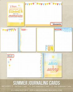 Summer Journaling Cards (Digital) from In a Creative Bubble. Love the summer quote (top left)