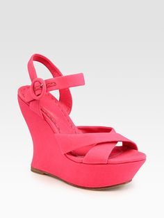 Alice + Olivia - Juliet Criss-Cross Canvas Slingback Wedge Sandals - Saks.com