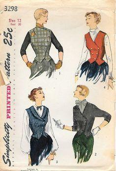 8eee6c3c0 Simplicity 3298 1950s Misses Weskit and Jacket Vintage Sewing Técnicas De  Dibujo, Patrones De Costura