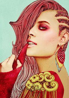 Artist: Elodie Nadreau {contemporary figurative illustrator beautiful blonde female redhead cornrows woman face portrait drawing} elodie-illustrations.net