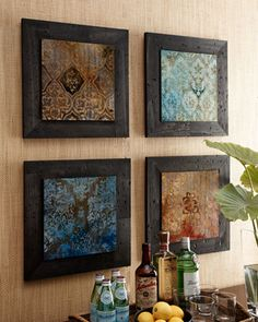 """Four Global """"Suzani"""" Prints at Horchow.  Flush framing treatment with no glass."""