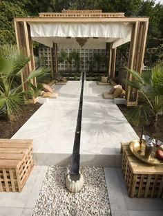 Feng Shui garden set wooden pergola design ideas