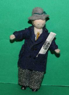 Vintage Dolls House Gentleman Grecon Doll With Newspaper
