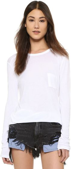 T by Alexander Wang Classic Long Sleeve Tee with Pocket...