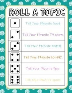 Roll A Topic Ice Breaker Freebie Use this activity as an ice breaker for the first week of school or as a classroom community builder. I have my students sit in a circle around our carpet, and I project the Communication Orale, Communication Activities, Cognitive Activities, Health Activities, Physical Activities, Get To Know You Activities, Classroom Activities, Icebreakers For Kids, Icebreaker Activities