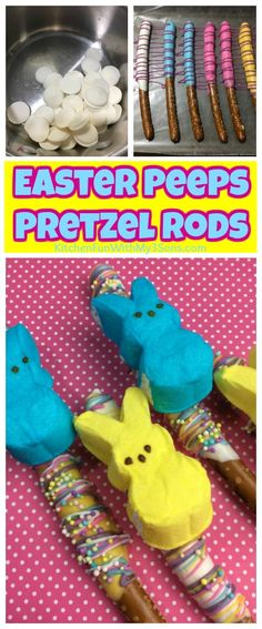 Easter Peeps Pretzel Rods recipe. Such a fun Easter snack for kids! #easter #peeps