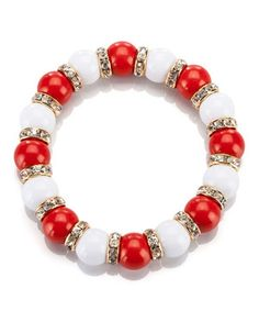 Look what I found on #zulily! Red & White La Ti Dottie Stretch Bracelet by Occasionally Made #zulilyfinds