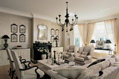French style. Living-room in gray and black found on desigransinteriorstyle.blogspot.com