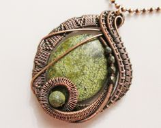 Oxidized Copper Wire Woven Serpentine Jade & Moss Agate Pendant