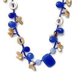 Short Lacy Blue White Bohemian Necklace Earrings by #ALFAdesigns #seypush #google