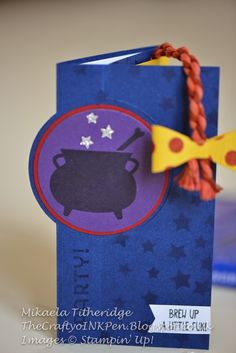 Stampin' Up! Tee-Hee-Hee Room on the Broom themed Birthday Circle Card Invitation with Bow Punch by Mikaela Titheridge, Independent Stampin' Up! Demonstrator, The Crafty oINK Pen, Spaldwick, Cambridgeshire, UK. Supplies from: www.thecraftyoinkpen.stampinup.net