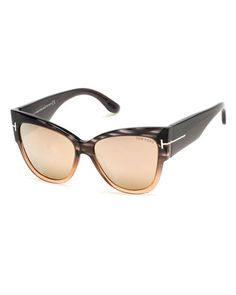 Anoushka+Streaked+Cat-Eye+Sunglasses,+Gray/Peach+by+TOM+FORD+at+Neiman+Marcus.