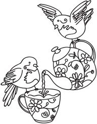Birds with a teapot. This would be a cute embroidery project