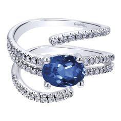 14k White Gold Diamond  And Sapphire Fashion Ladies' Ring   Gabriel & Co NY   LR50624W45SA
