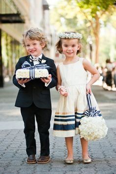 Youngest members of the wedding party decked out in navy, gold and white. Cute for a nautical wedding. Nautical Wedding, Blue Wedding, Summer Wedding, Dream Wedding, Sapphire Wedding, Wedding Scene, Nautical Theme, Wedding Bride, Bride Groom