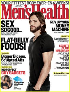Ashton Kutcher, IMTA 1997 Most Sought After Male Model, on the cover of Men's Health.