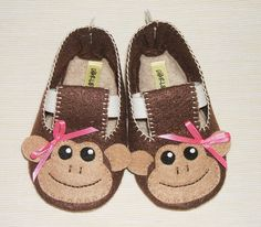 Baby Booties - Newborn, Infant, Baby Slippers, Crib Shoes, Footwear, 0 - 18 Months - Girls Monkey Booties by CharliesGiraffe