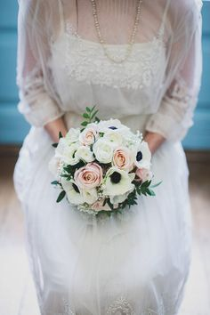 pink and white rose bouquet with anemones | Read more on http://onefabday.com/bradbourne-house-by-jess-petrie/