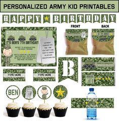 Kids Army Party Theme Birthday - Games, Ideas, and Supplies including personalized invitations, favors, banner, and more!