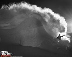 Blair Habenicht powder cloud.  Photo by Oli Gagnon  #snowboard  #blackandwhite