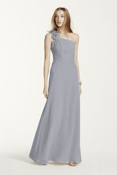 This chiffon, one-shoulder dress is adorned with elegant flower details for an updated look that is on trend.  Bodice features asymmetrical neckline and all over ruching to keep this silhouette flattering and streamlined.  Chiffon skirt flows effortlessly to create a soft and romantic look.  Available in standard length as style 4XLF14010.  Fully lined. Imported polyester. Dry clean only.