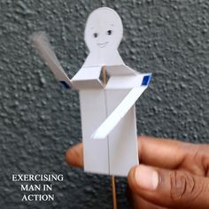 Toys from Trash - Recycle some card stock, a stick, and a straw into an exercising man you can actually make move!