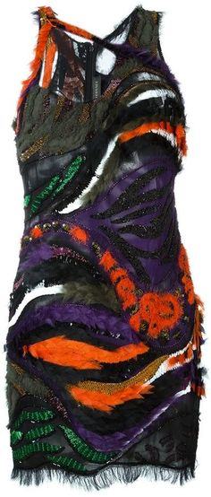 Versace embroidered patchwork dress