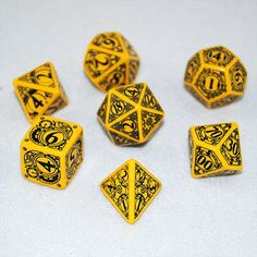 Yellow & Black Steampunk RPG Dice Set