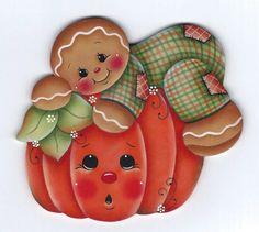 6 conception d'ornements gingerbread et la citrouille par Pamela House - prêt à peindre 15773