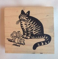 """One Rarely Used Kliban Cat Rubber Stamp by American Art Stamp. Titled - Mouse Gift #BK013-1030. Stamp Measures 3.25"""" x 3.00"""". From NON-SMOKING, PET-FREE HOME. 