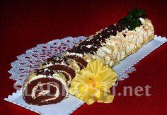 Kakaová roláda s ořechy a pudinkovou šlehačkou