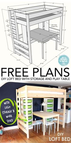 Loft Bed with Desk and Storage How to build a DIY loft bed with play table and Ikea Trofast storage - free plans and tutorial!How to build a DIY loft bed with play table and Ikea Trofast storage - free plans and tutorial! Furniture Projects, Furniture Plans, Home Projects, Diy Furniture, Bedroom Furniture, Furniture Stores, Industrial Furniture, Modern Furniture, Furniture Design