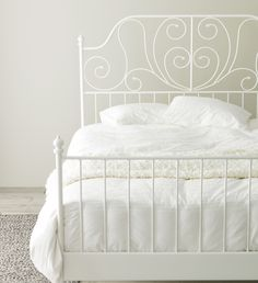 This is my ikea Leirvik bed that I adore. It's definitely one of my favorite ikea items. White Iron Beds, White Metal Bed, White Bedding, White Bedroom, White Ikea Bed, Ikea Beds, Ikea Leirvik, Ikea Bed Frames, Bedroom Decor