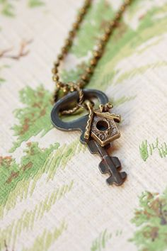 Bird Necklace Vintage Key and Bird House Charm Necklace