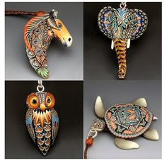 A collection of some wonderfully patterned jewelry pieces! These necklace pendants feature the very talented work of Jon Anderson. His polymer clay canes have some astounding detail in them.  his other works at The Polymer Arts magazine blog, http://www.thepolymerarts.com/blog/10260