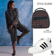 Ace the print-on-print #trend with these amazing separates by Blueprint by Navya and Divya Niranjan. Style it with adidas Originals sneakers and a Label Ritu Kumar backpack #india #fashion #printonprint #athleisure #sneakers #backpack