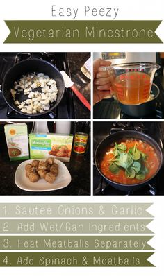 Easy Peezy Vegetarian Minestrone - perfect for lunches with Morningstar Farms meatballs recipe