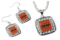 Oklahoma state rhinestone jewelry. See gameday accessories and dresses for so many schools on this site.