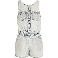 273e47de43f3 Girls acid wash denim playsuit £16  RIkidswear ~riverisland Girls Playsuit