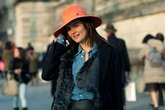 Anouck Lepere in Maison Michel hat, Zac Posen jacket, Ann Demeulemeester vest and Kiki de Montparnasse leather Skirt | Paris Fashion Week Fall-Winter 2011 | Citizen Couture