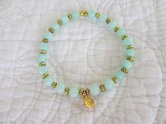 Armbänder - Armband Jade mint gold Münze - ein Designerstück von Qulaju bei DaWanda